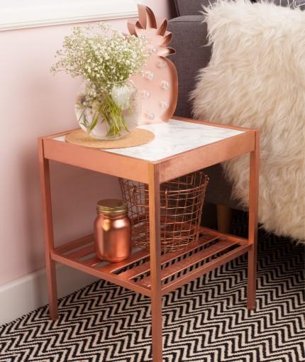 Metallic Spray Paint - Metallic Bright Copper Side Table