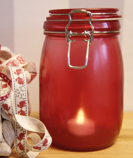 Stained Glass - Red Stained Glass Jar