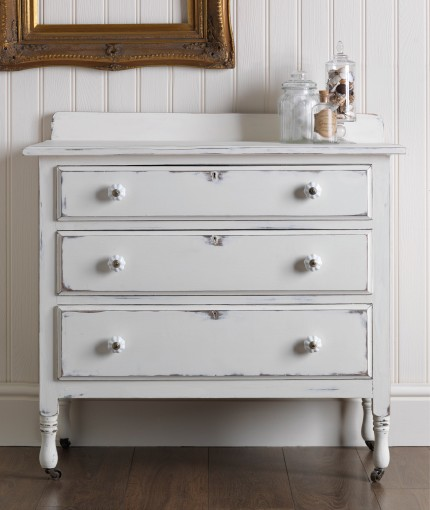 Chalky Finish Furniture Paint - Antique White Drawers