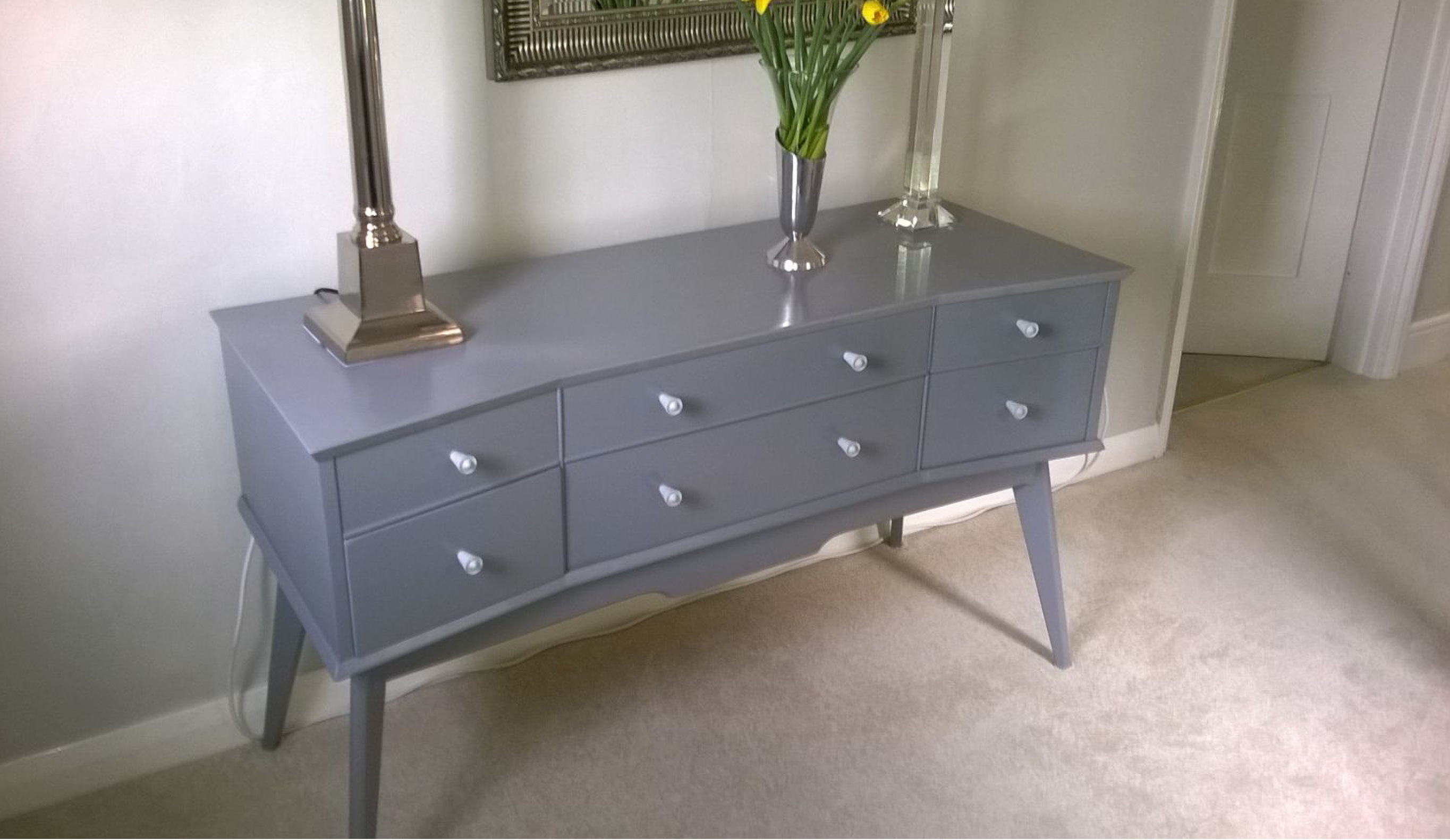 ... Over A Chic Light Oak 1950u0027s Sideboard Using Rust Oleum Satin Finish Furniture  Paint In Slate, By Fully Painting The Piece In The Attractive Mid Grey.