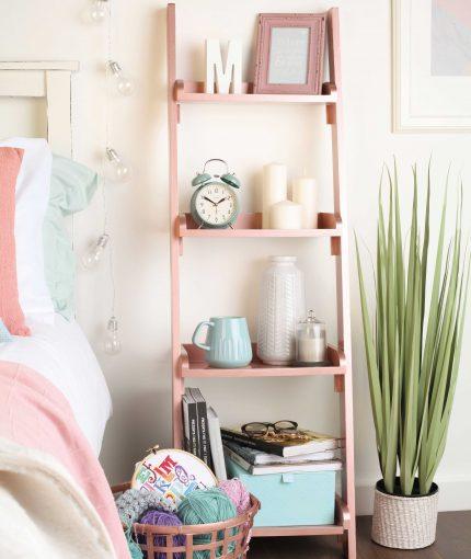 Rose Gold Metallic Spray Paint - Metallic-Rose-Gold-Ladder-Shelves