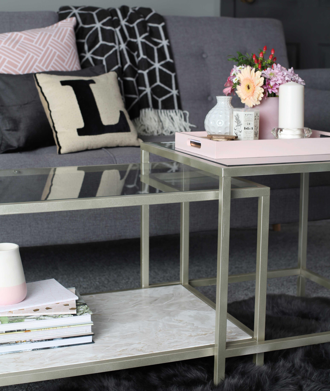 Metallic White Gold Coffee Table Rustoleum Spray Paint