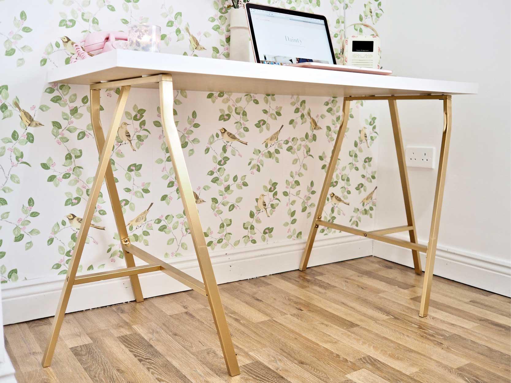 Metallic-Gold-Ikea-Table-Hack